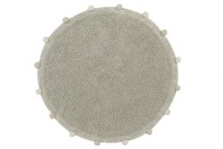 Washable Rug Round | Bubbly | Olive Green & Natural