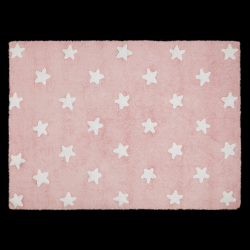 Washable Rug | Stars | Pink & White