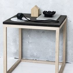 Cube Table | Oak & Black Marble