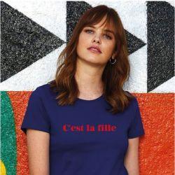 ♀ T-shirt C'est la Fille | Blue
