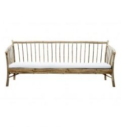 Bamboo Lounge Sofa with Mattress | White