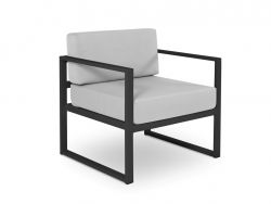 Armchair Nicea | Black Frame & Grey