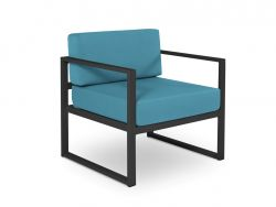 Armchair Nicea | Dark Grey Frame & Blue