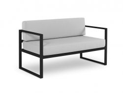 2 Seater Sofa Nicea | Dark Grey Frame & Grey