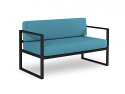 2 Seater Sofa Nicea | Dark Grey Frame & Blue