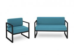 2 Seater Sofa & Armchair Set Nicea | Dark Grey Frame & Blue