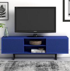 TV Ständer Camden Blue Diamond Print | Schwarz-Blau