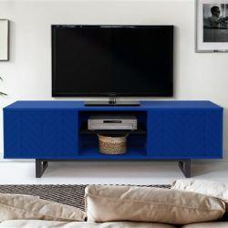 TV Ständer Camden Blue Herringbone Print | Schwarz-Blau