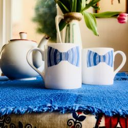 Sibling Blue Bow Tie Mugs | Set of 2