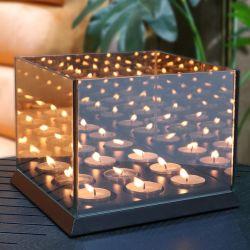 Kerzenlichter Spiegelglas 9 Lichter | Schwarz