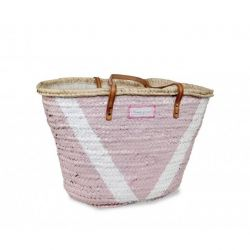 V Basket Big Medium | Pink & White