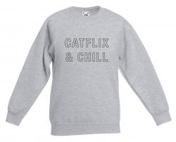 ♀ Pullover Catflix & Chill | Grau