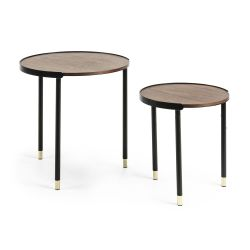 Aliner Table d'Appoint Set de 2 | Noyer
