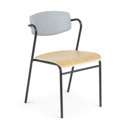 Chaise avec Accoudoir Jasper | Gris & Bois Clair