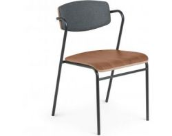 Chaise avec Accoudoir Casper | Gris & Bois Foncé