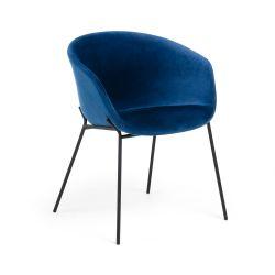 Chaise Vic Velours | Bleu Foncé