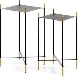 Set of 2 Side Tables Dagnen | Black