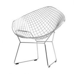Chair Diament | Silver + Black Cushion