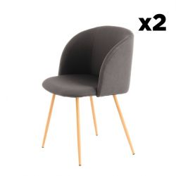 Chair Dena Set of 2 | Charcoal Black