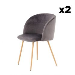 Set of 2 Chairs Denise 222 | Dark Grey