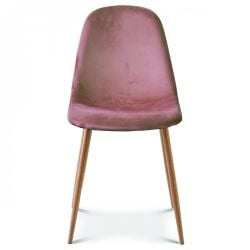 Chaise Josef Velours | Rose/Bois