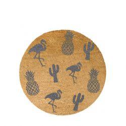 Kreisförmige Fußmatte | Ananasgrau