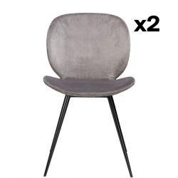 2er Set Stühle Cloud | Alu Samt & Schwarze Beine