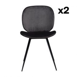 Set of 2 Chairs Cloud | Meteorite Black Velvet & Black Legs