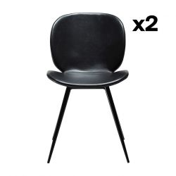 Set of 2 Chairs Cloud | Vintage Black PU Leather & Black Legs