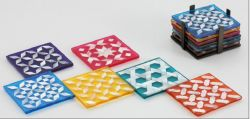Clear Set of 6 coloured Coasters