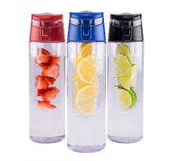 Trinkflaschen mit 3er-Set mit Obstinfusor | Rot, Blau und Schwarz