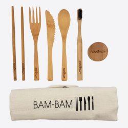 Wiederverwendbares Essbesteck mit Zahnbürste und Zahnpasta Bam Bam | Bamboo
