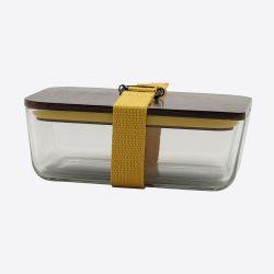 Lunchbox mit elastischem Band und Deckel aus Glas und Bambus | Gelb