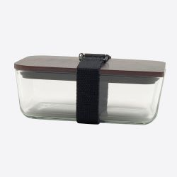 Lunchbox mit elastischem Band und Deckel aus Glas und Bambus | Schwarz