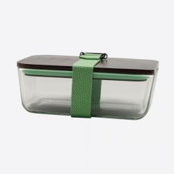 Lunchbox mit elastischem Band und Deckel aus Glas und Bambus | Grün