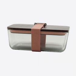 Lunchbox mit elastischem Band und Deckel aus Glas und Bambus | Rosa