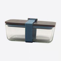 Lunchbox mit elastischem Band und Deckel aus Glas und Bambus | Hellblau
