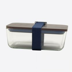Lunchbox mit elastischem Band und Deckel aus Glas und Bambus | Dunkelblau