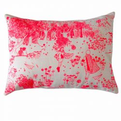 Pink Toile de Jouy Cushion | Rectangular