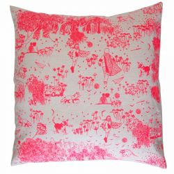 Pink Toile de Jouy Cushion | Square