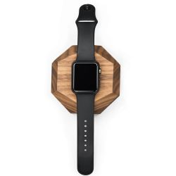 Apple Watch Docking Station Polygonaal | Walnoot