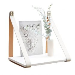 Suede Leather Strap Sidetable Shelf | White + Cream Straps