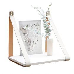 Velourslederband Beistelltischregal | Weiß + Cremegurte
