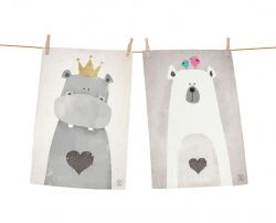 Dish Towels Hippo & Bear Set of 2