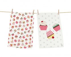 Vaatdoek Yummy Cupcakes Set van 2