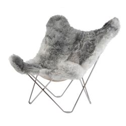 Butterfly Chair Icelandic Sheepskin | Short Grey / Chrome Frame