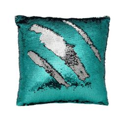Mermaid Sequin Pillow Cover | Teal/Silver