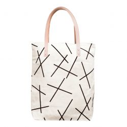 Cotton Canvas Tote Bag with Leather Straps | Black Mikado