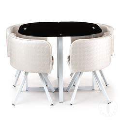 Set of Square Table + 4 Chairs I White-Black