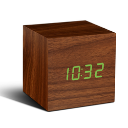 Cube Click Clock | Walnut and Green